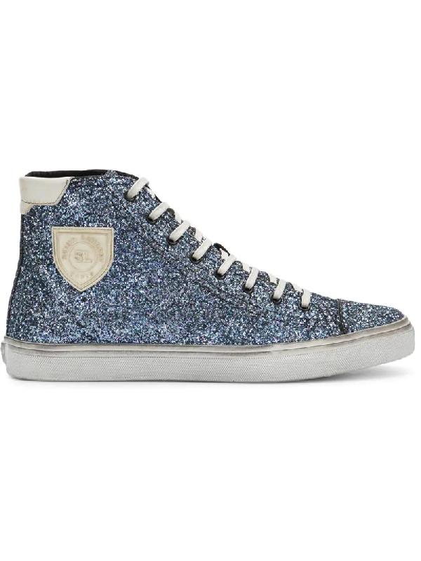 54af3da36fad Saint Laurent Bedford Sneakers In Glitter In 1810 -Glit Blue/Blanc Opt