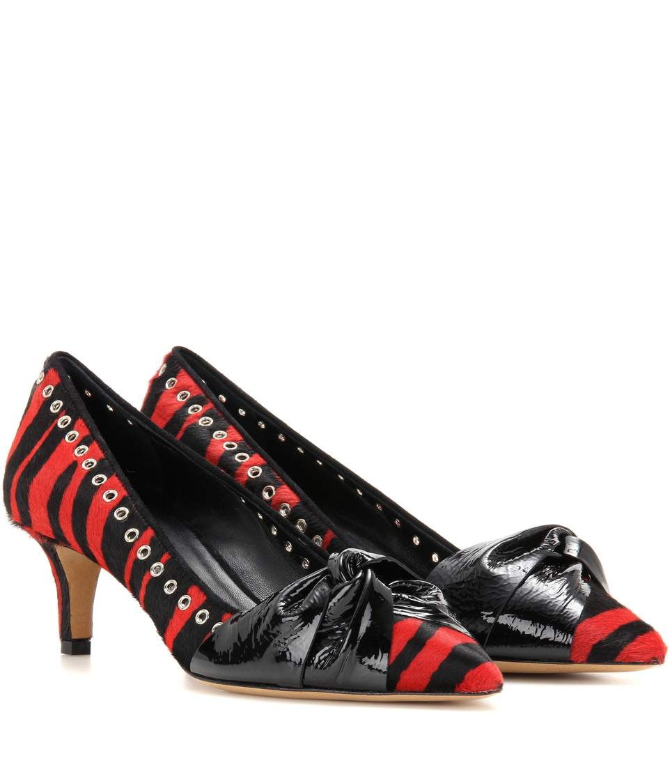 Isabel Marant Panely Embellished Calf Hair Pumps In Red