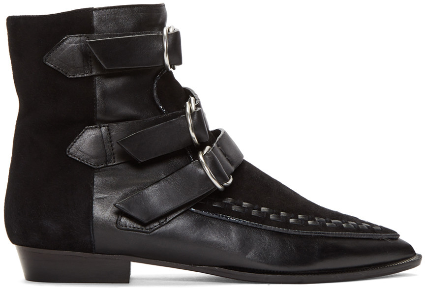 Isabel Marant 10mm Rowi Leather And Suede Boots, Black