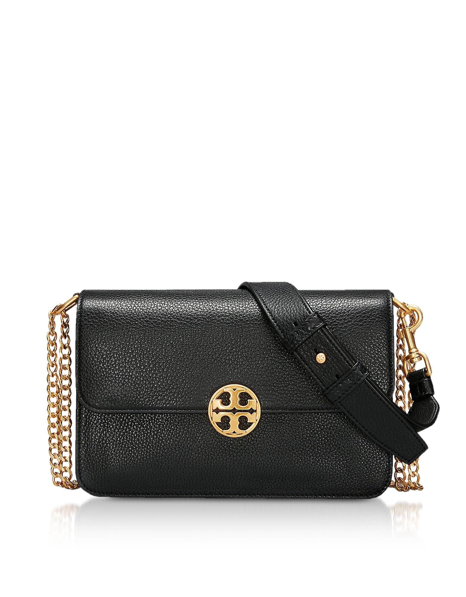 8a4a94aaa6a9 Tory Burch Black Leather Chelsea Convertible Shoulder Bag In Black Gold