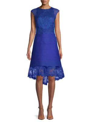 c923efecb2c4 Tadashi Shoji Hi-Lo Embroidered Dress In Mystic Blue | ModeSens