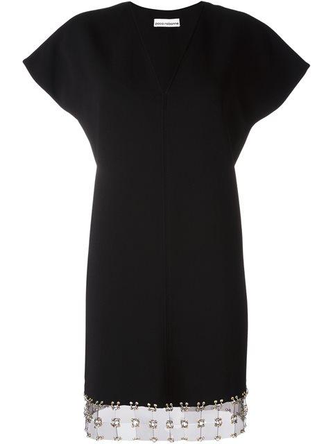 Paco Rabanne V-neck Mini Dress In Black