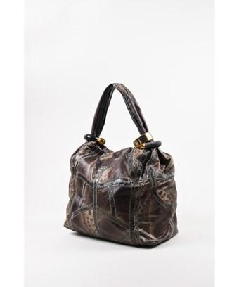 fbc3e0a6361 Jimmy Choo Pre-Owned Gray Elaphe & Karung Snakeskin Patchwork Leather