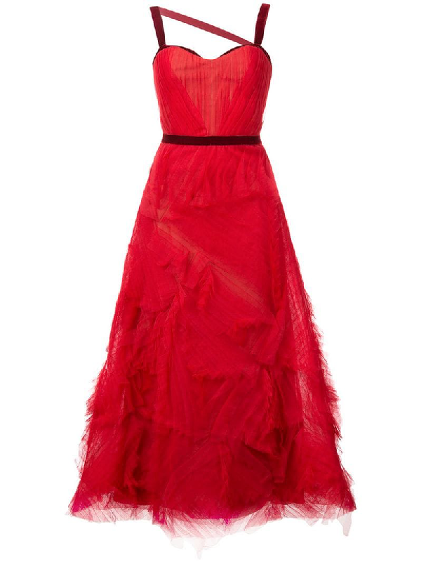 6d707f59 Marchesa Notte Textured Tulle Gown In Red | ModeSens