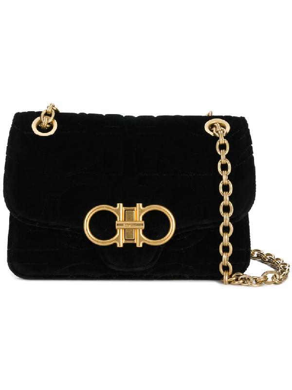 aca4c87eedfb Salvatore Ferragamo Gancino Quilting Velvet Shoulder Bag In Black ...