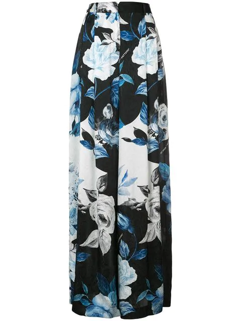 Off-White Pleated Silk Floral Wide-Leg Pants, Black In 1099 Black All Over