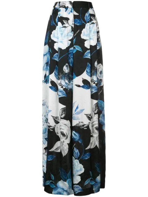 Off-white Floral Wide Leg Silk Pants In Black All Over