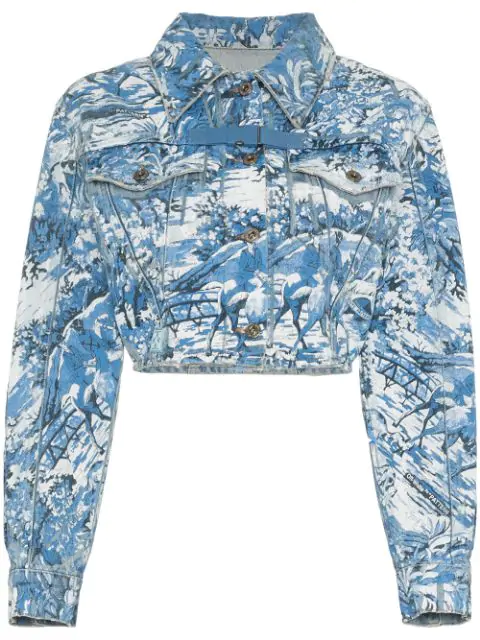 Off-White Cropped Tapestry Print Denim Jacket In Blue