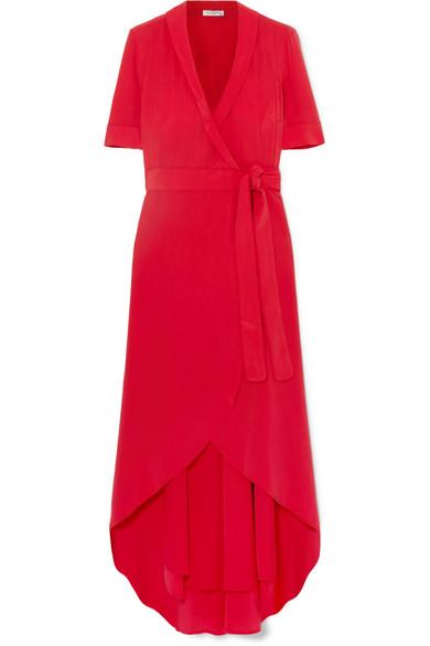 Equipment Imogene Silk Wrap Midi Dress In Red