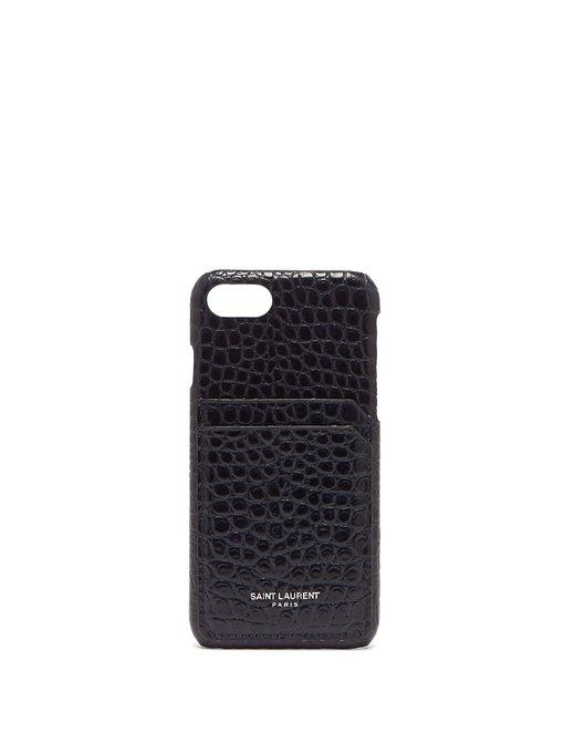 online store 6d537 9e46d Crocodile-Effect Leather Iphone® 8 Case in Navy