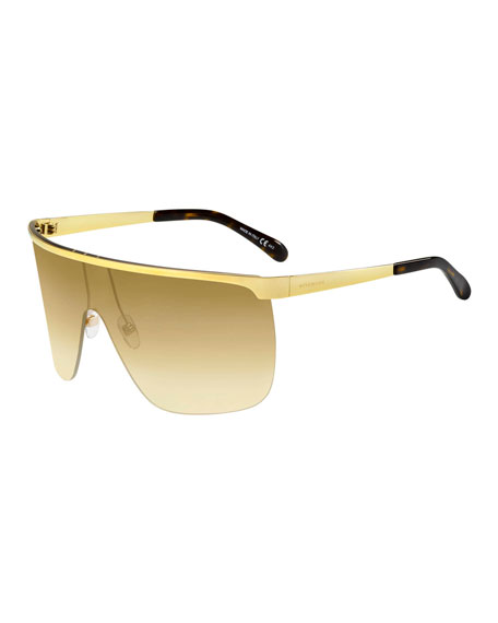 Givenchy Gradient Metal Shield Sunglasses In Gold