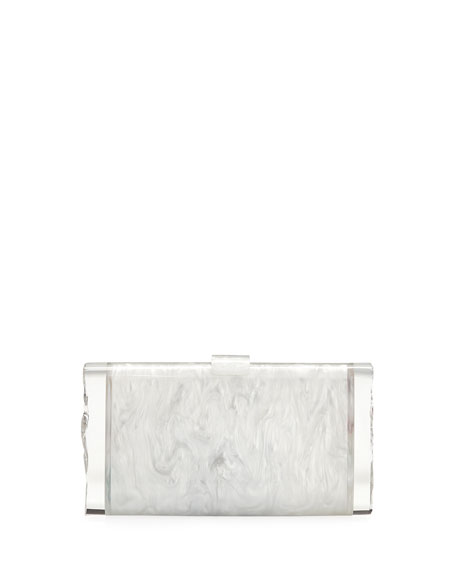 Edie Parker Lara Backlit Confetti Rainbow Hearts Clutch Bag In White Pearl Multi