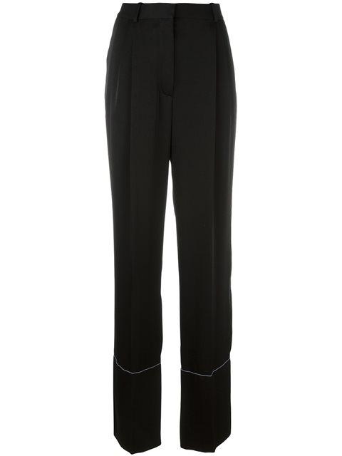 Sonia Rykiel Crepe Wide Leg Pants With Contrast Stripe In Black