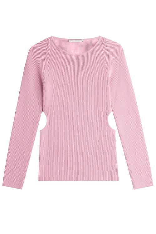 Emilia Wickstead Wool-silk-cashmere Ribbed Pullover With Cutouts In Pink