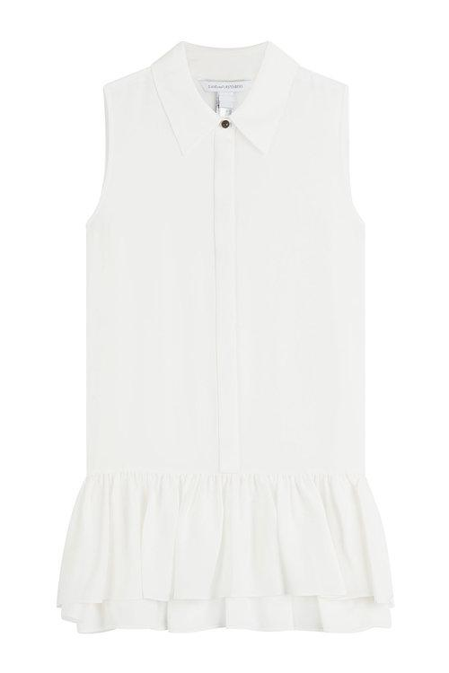 Diane Von Furstenberg Silk Blouse With Ruffles In White