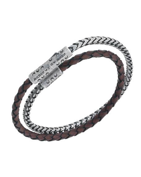 Men S Lash Sterling Silver Leather Wrap Bracelet