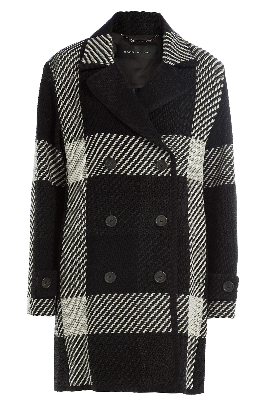 Barbara Bui Plaid Coat In Black