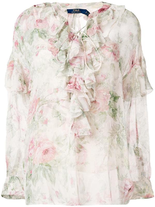 2de0eeecb Polo Ralph Lauren Floral-Print Blouse In Neutrals | ModeSens
