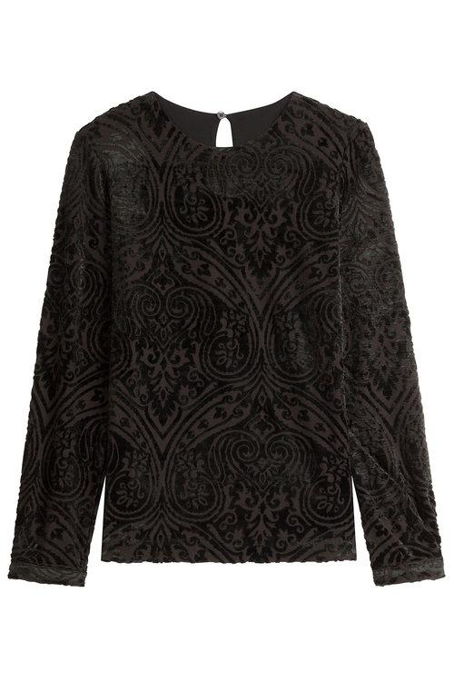 Etro Patterned Velvet Top In Black