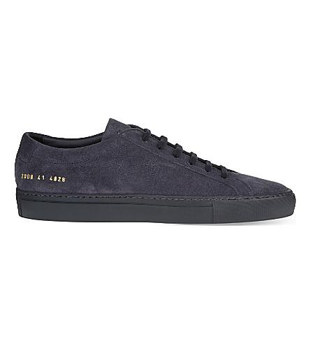 Common Projects Navy Blue Nubuck Original Achilles Low Men's Sneakers In 4928 Navy