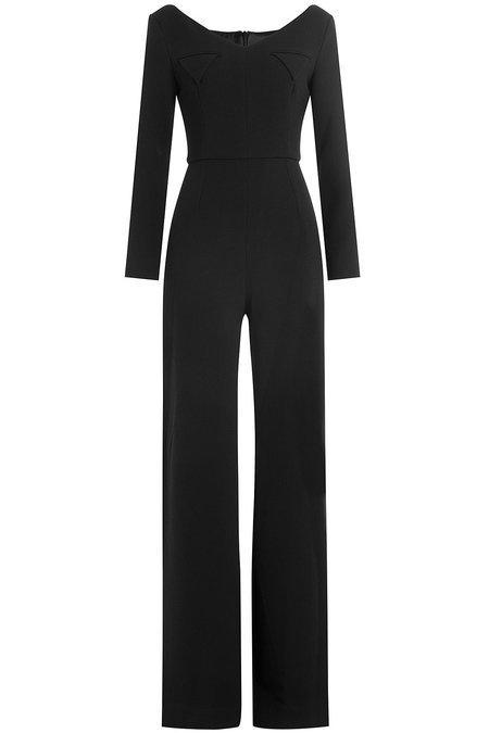 Emilia Wickstead Wide Leg Wool Jumpsuit In Black