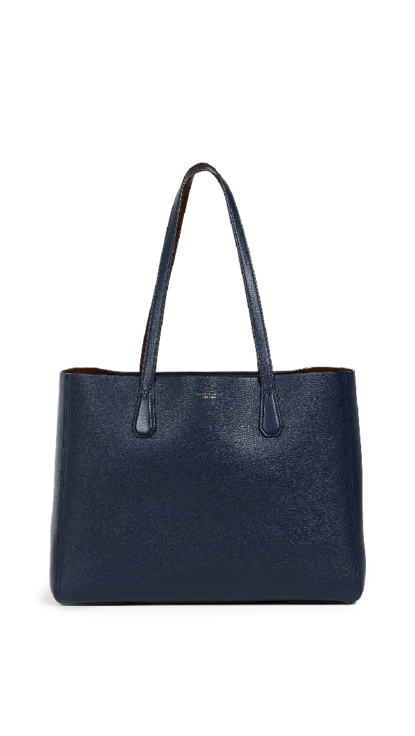 17ff9c2df7e Tory Burch Mcgraw Leather Laptop Tote - Blue In Royal Navy Buffalo ...