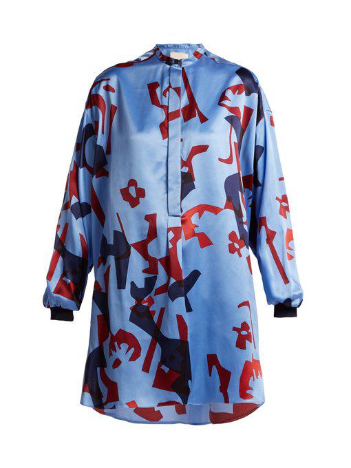 Roksanda Nakata Geometric-Print Silk Blouse In Blue Multi