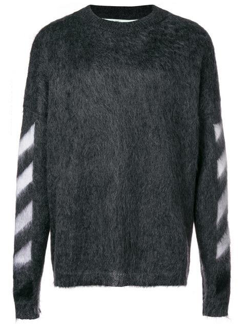 0117e478e3c7 Off-White Oversized Arrows Mohair Blend Sweater In Grey