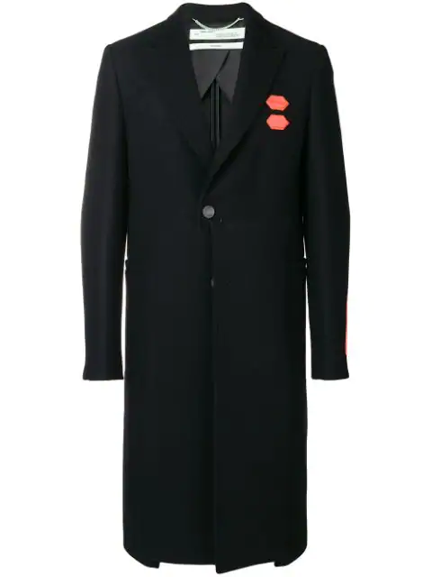 Off-white Contrast Patch Single-breasted Coat In Black