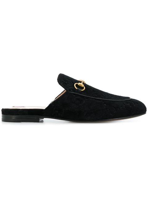 Gucci 10Mm Princetown Gg Supreme Velvet Mules In Black