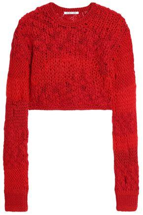 Helmut Lang Woman Cropped Open-knit Wool-blend Sweater Red
