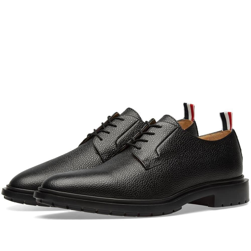 1e4339f993c3d6 Thom Browne Men's Leather Blucher Dress Shoes With Winterized Rubber Sole In  Black