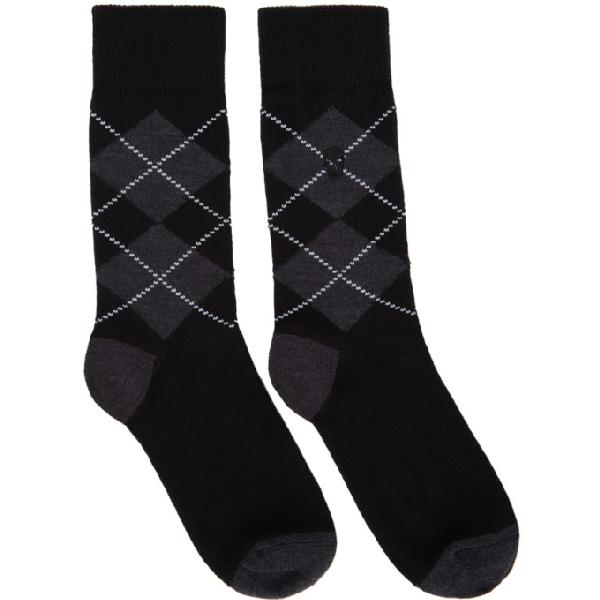 20cf06be18b91 Alexander Mcqueen Argyle Wool-Blend Mid-Calf Socks - Black Pat. In 1061