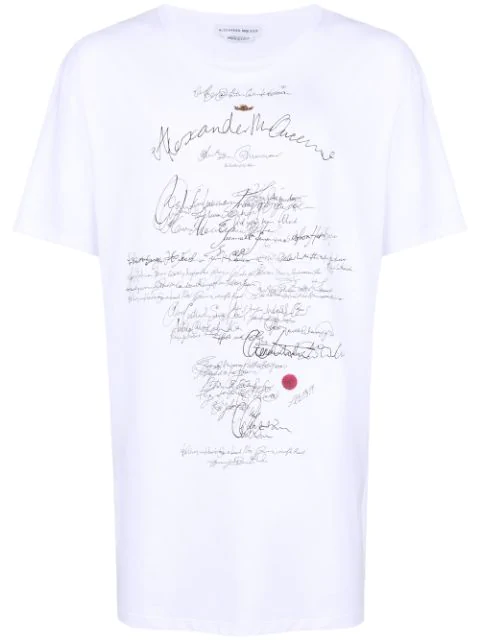Alexander Mcqueen Handwriting Print Cotton-Jersey T-Shirt In White