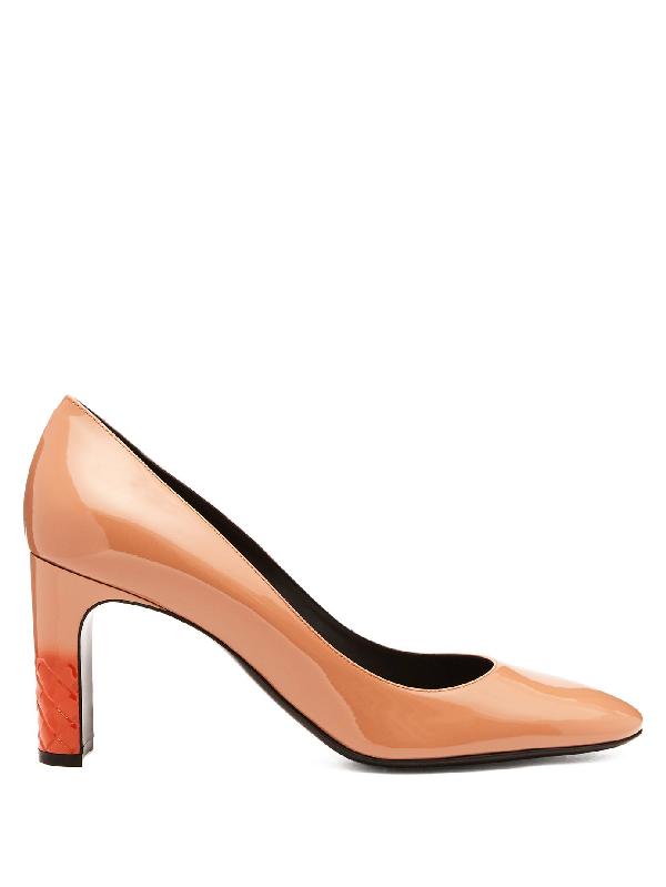 ae6e84d45697 Bottega Veneta Isabella Patent-Leather Pumps In Peach Pink