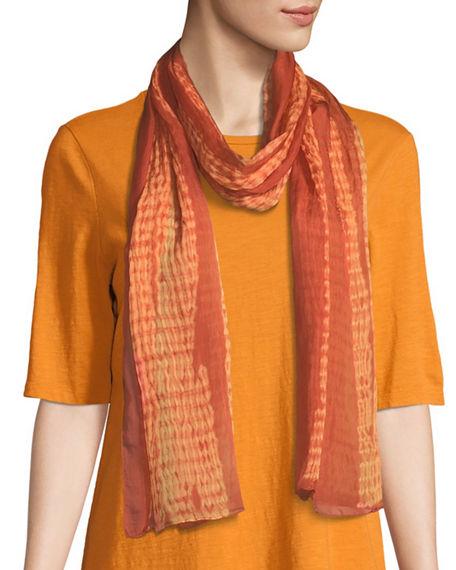 Eileen Fisher Woodgrain Shibori Silk Scarf In Medium Orange