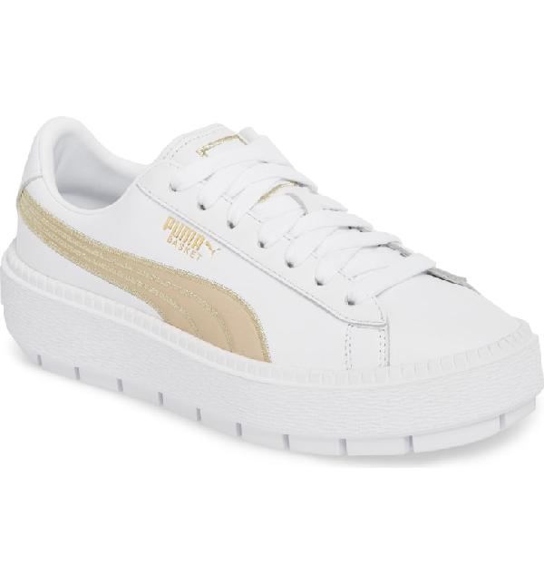 8d3e0ef0353 Puma Platform Trace Varsity Sneakers In White  Metallic Gold