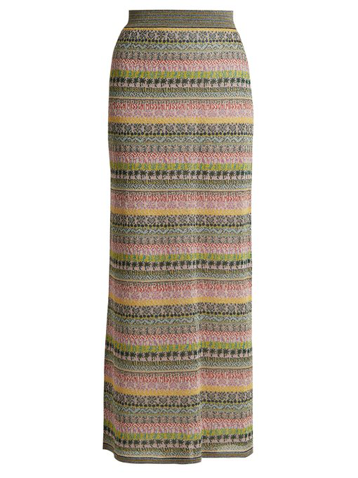 Missoni Striped Metallic Maxi Skirt In Mid-Weight Multicoloured Metallic Striped And Patterned Mesh