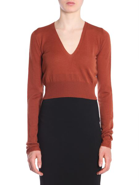 Rick Owens V Collar Sweater In Brown
