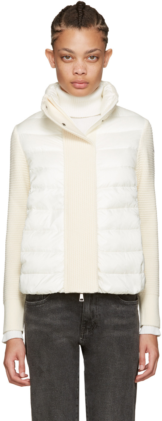 Moncler Maglione Quilted Shell And Ribbed Wool Jacket In White