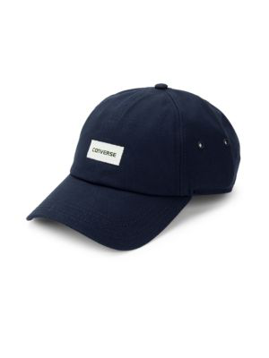 Converse Logo Cotton Baseball Cap In Navy Blue