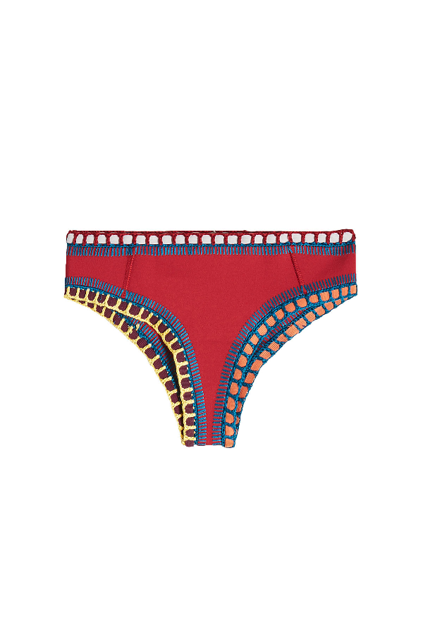 Kiini Soley Crochet Trimmed Bikini Bottoms In Red