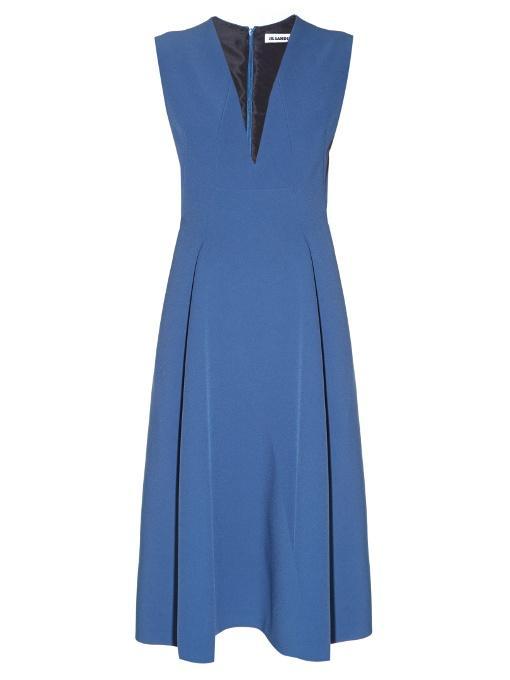Jil Sander Bocciolo V-neck Midi Dress In Blue