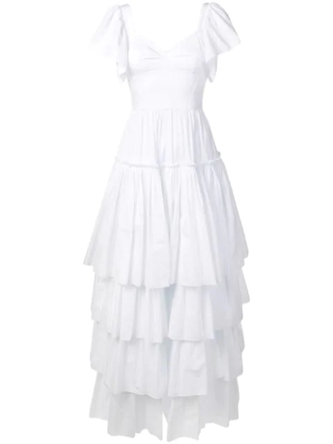 Dolce & Gabbana Ruffled Poplin Dress In White