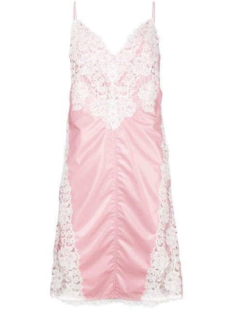 Calvin Klein 205w39nyc Lace-paneled Slip Dress In Pink