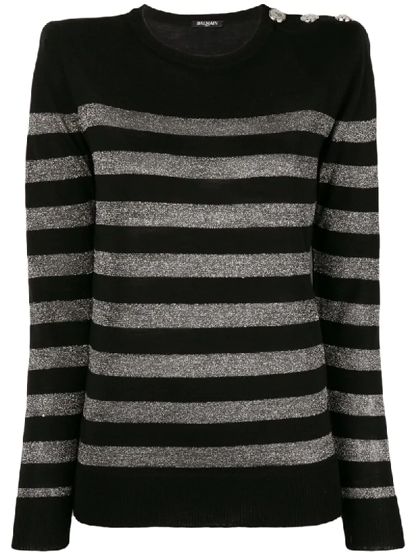 Balmain Crewneck Button-Shoulder Metallic-Striped Sweater In Black