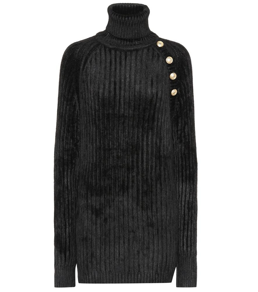 Balmain Chenille Turtleneck Sweater In Black