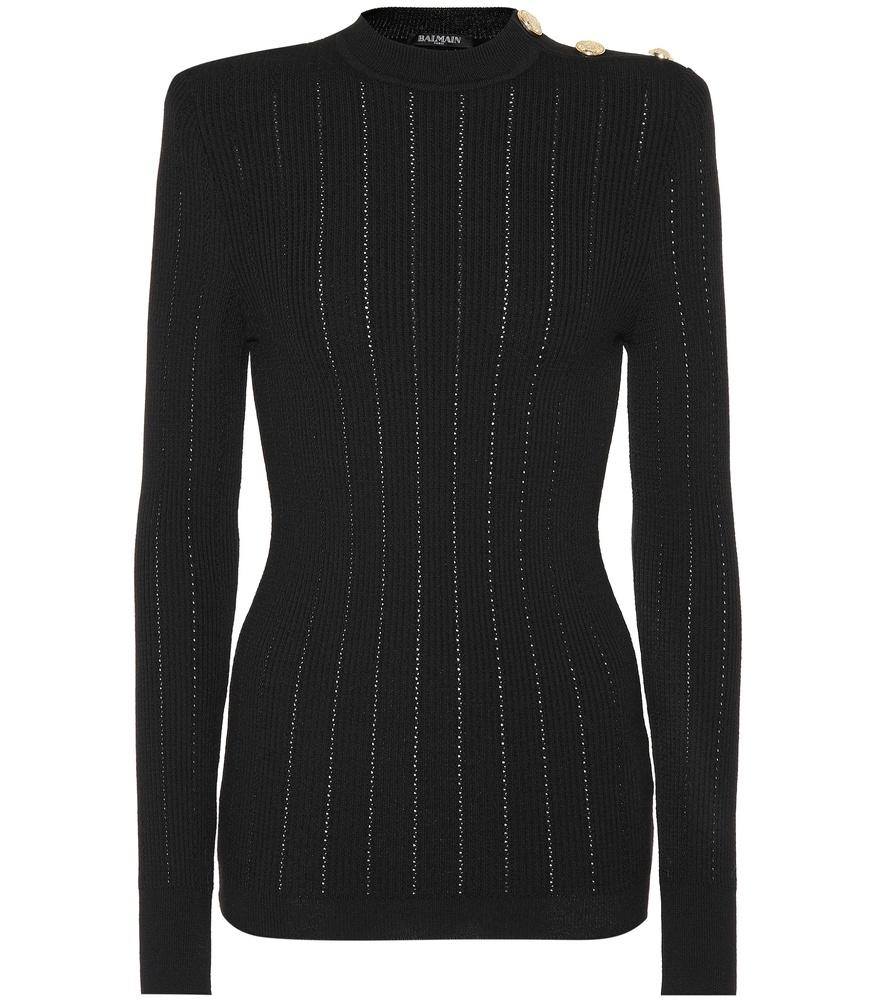 Balmain Stich-Knit Wool Sweater In Black