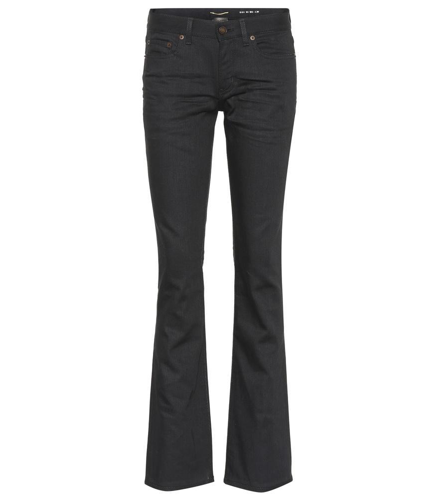 Saint Laurent Stretch-Cotton Bootcut Pants In Black
