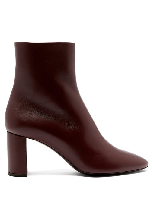 9344863e73d Saint Laurent Lou 95 Leather Ankle Boots In Red | ModeSens